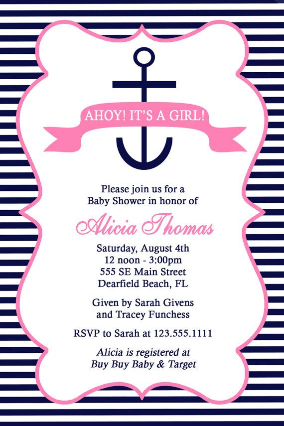 Pink Nautical Anchor Baby Shower Invitation By Honeyprint On Etsy D FAVORITE
