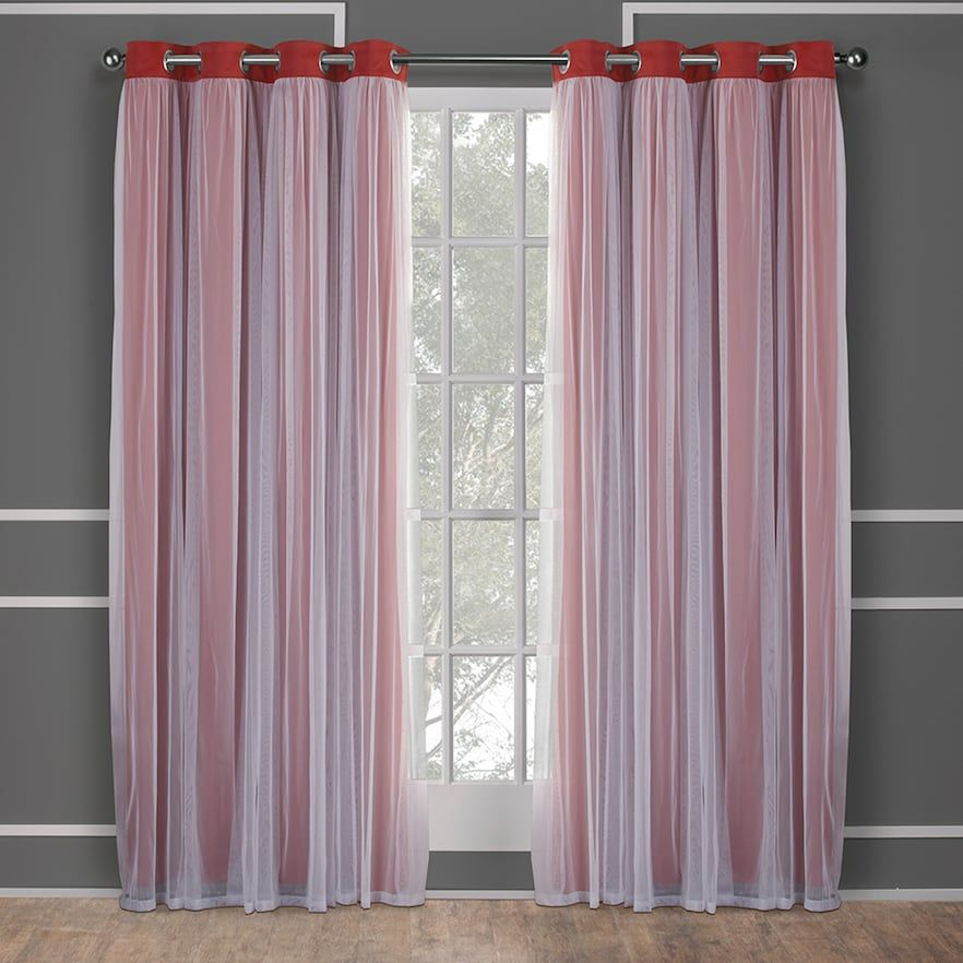 1d74027e0f23 Exclusive Home 2-pack Catarina Layered Solid Blackout and Sheer Window  Curtains