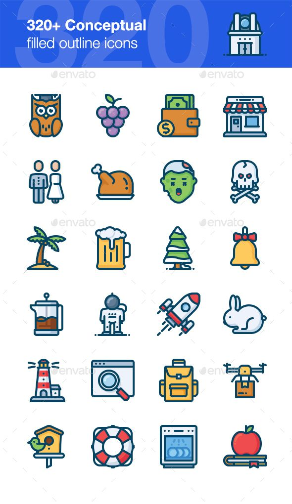 320+ Conceptual Icons, Filled Outline Style Pinterest Outlines