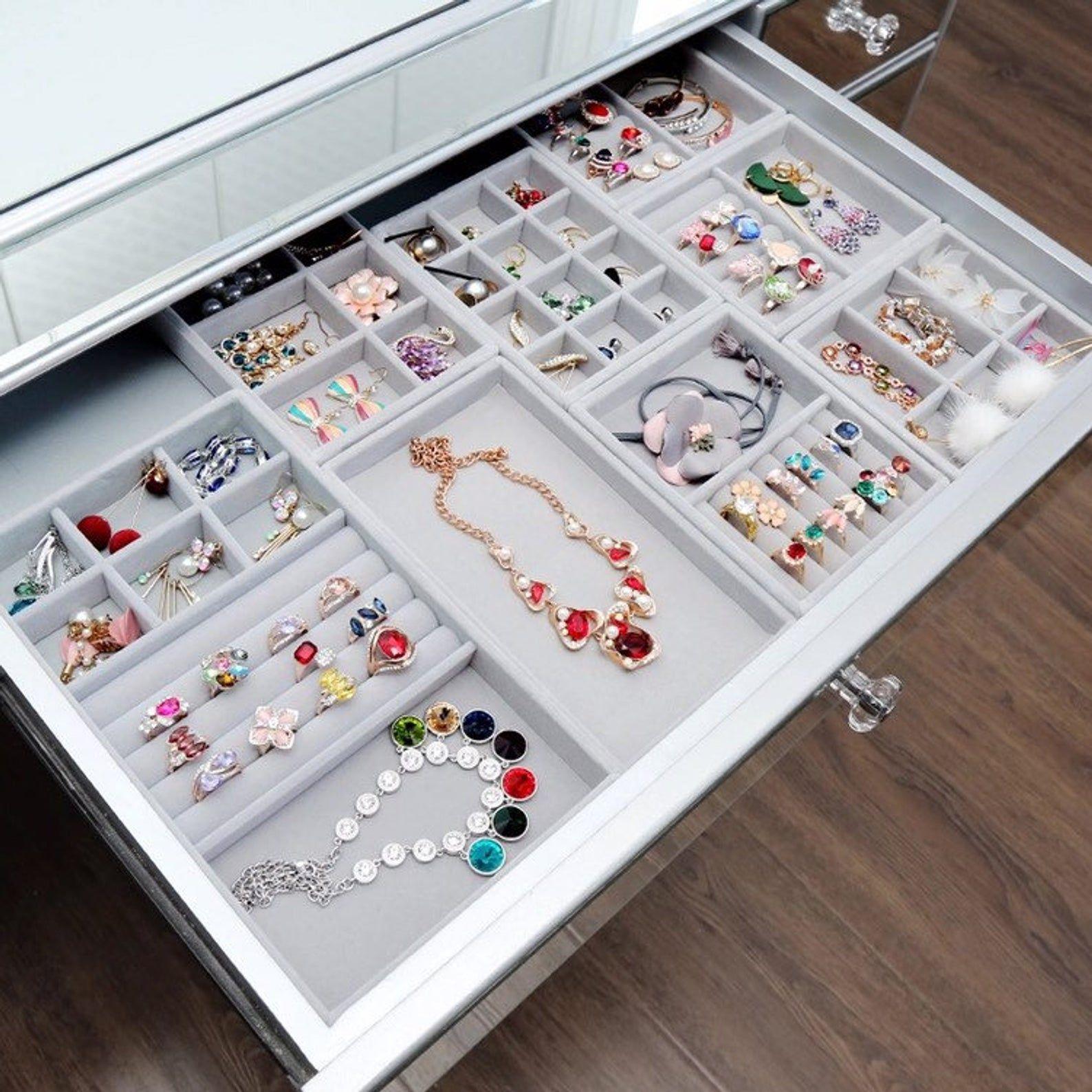 Jewelry Organizer Velvet Tray Jewelry Stand Jewelry Display Etsy Jewelry Drawer Jewelry Tray Jewellery Storage