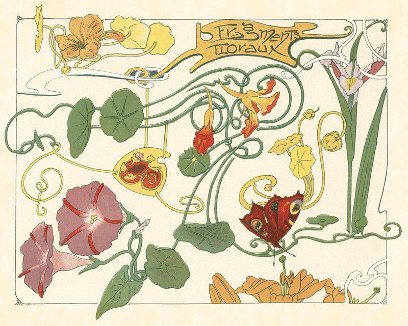 Art nouveau botanical art print art nouveau pinterest for Decoracion art nouveau