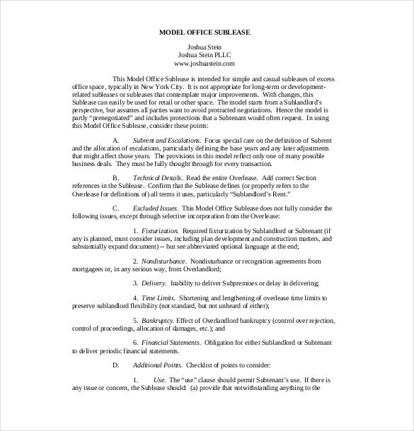 Model Office Sublease Agreement , 10+ Useful Sublease Agreement ...