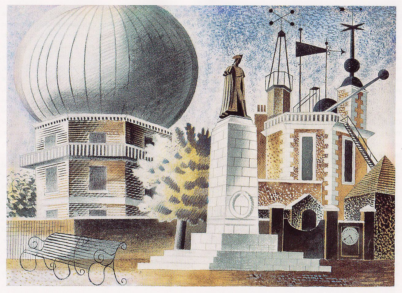 Greenwich observatory print from an eric ravilious for Eric mural painter