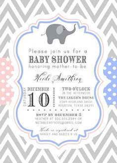 elephant twins shower invitations Google Search Baby Shower