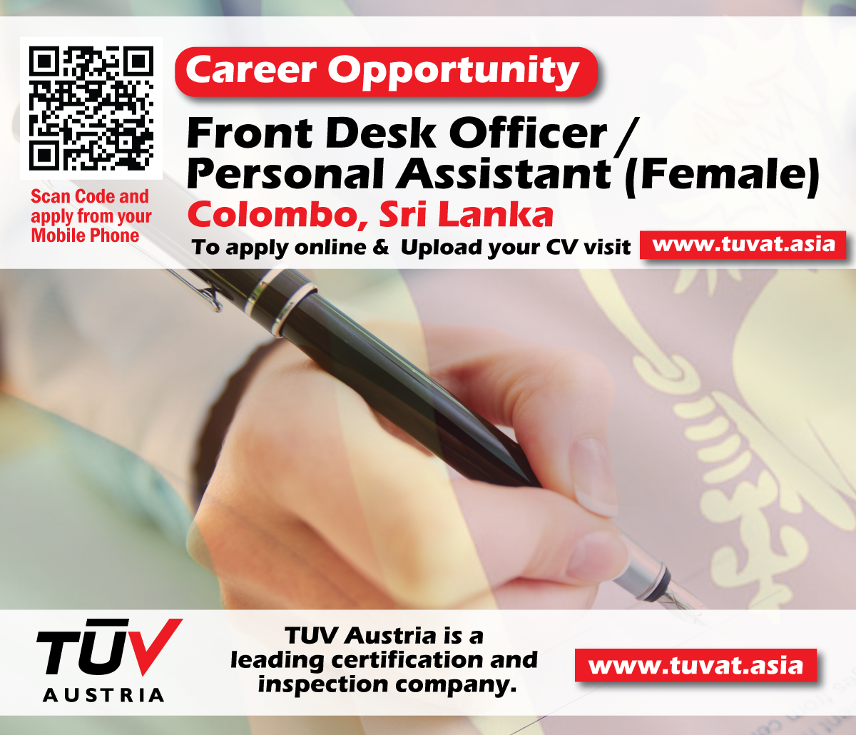 career opportunity front desk officer personal assistant career opportunity front desk officer personal assistant female to upload your cv and apply online or contact sri lanka 2301056
