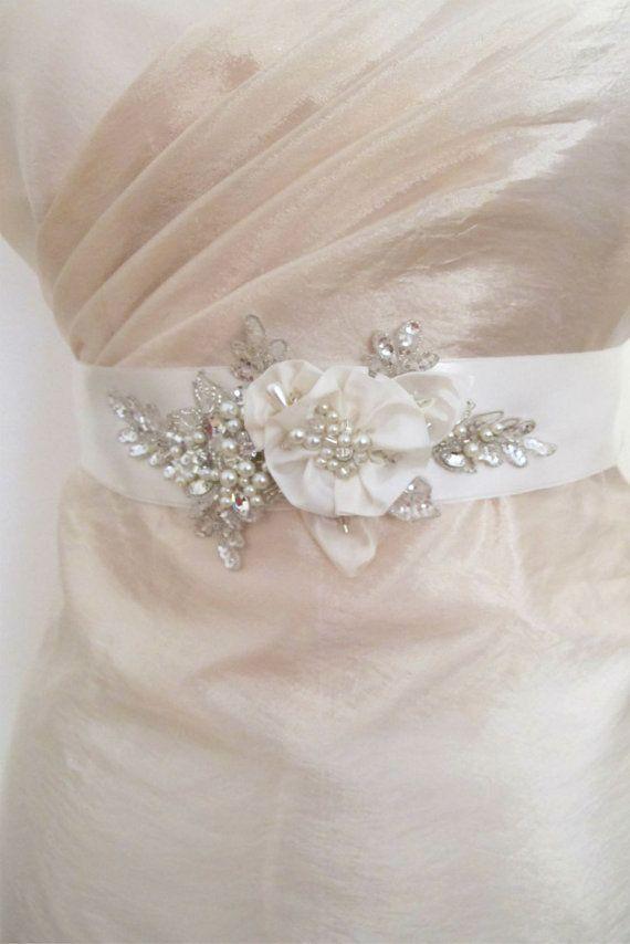 Ivory Pearl Crystal Beaded Sash Bridal Wedding Belt by gebridal
