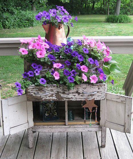 Repurposed Vintage Sideboard #Gardening