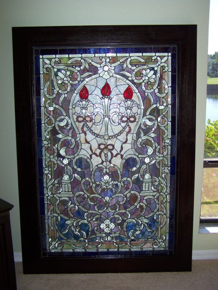 Stained glass multi-color framed art piece-large -REDUCED | Stained ...