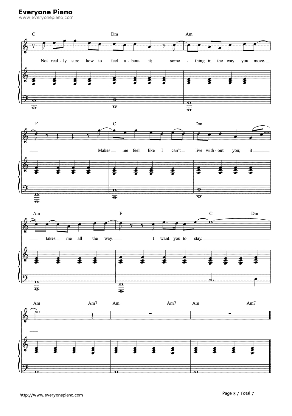 Free Stay Rihanna And Mikky Ekko Sheet Music Preview 3 Page 3