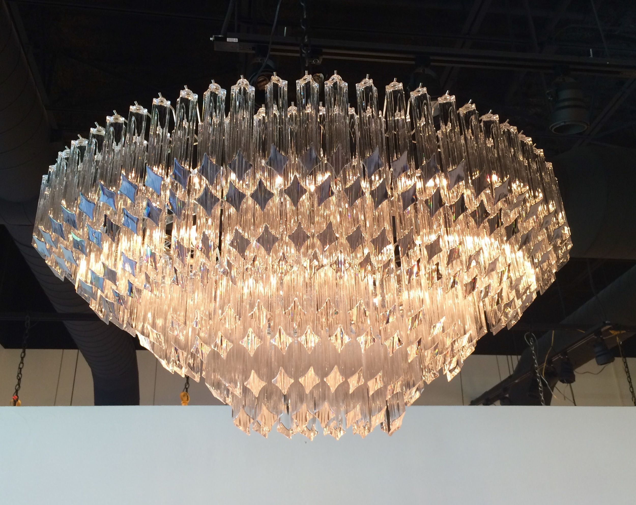 Mid 20th Century Oval Venini Crystal Chandelier Crystal