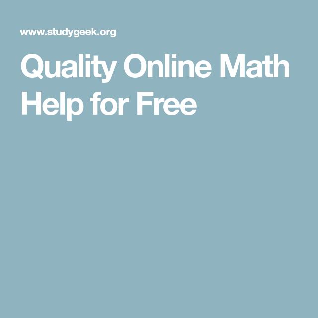 Quality Online Math Help for Free | Maths | Pinterest | Free math ...