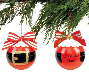 Christmas ornament personalized santa suit empty field but do it yourself craft with kids with generic red plastic christmas ball ornaments some ribbon or vinyl and some gold stamp paper solutioingenieria Choice Image