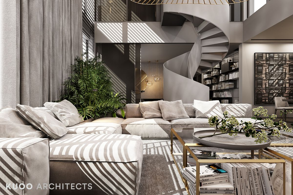 A Luxury Apartment With A Double Height Ceiling Minimalist Home