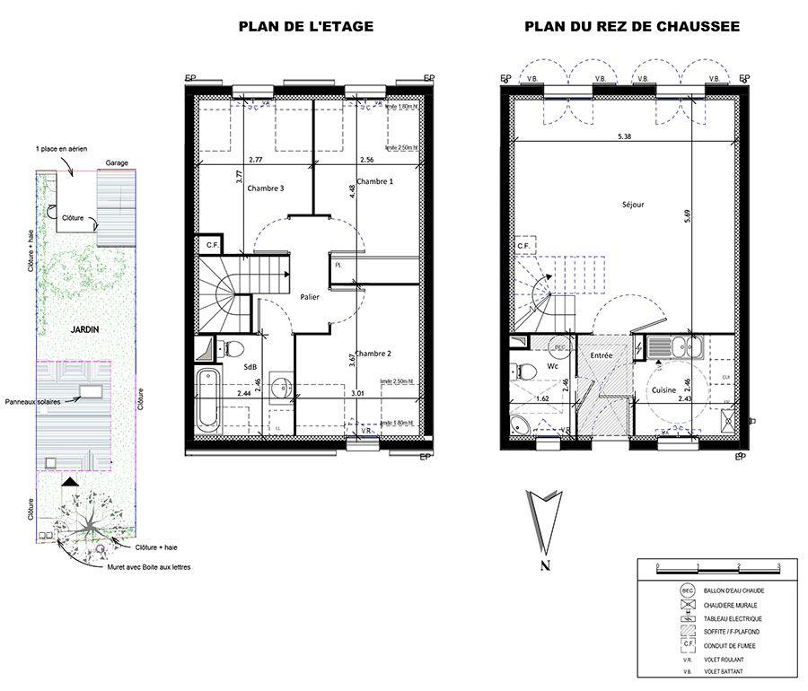 maison t4, 78.84m² : le fomaine des hauts de à veigné veigne. n509