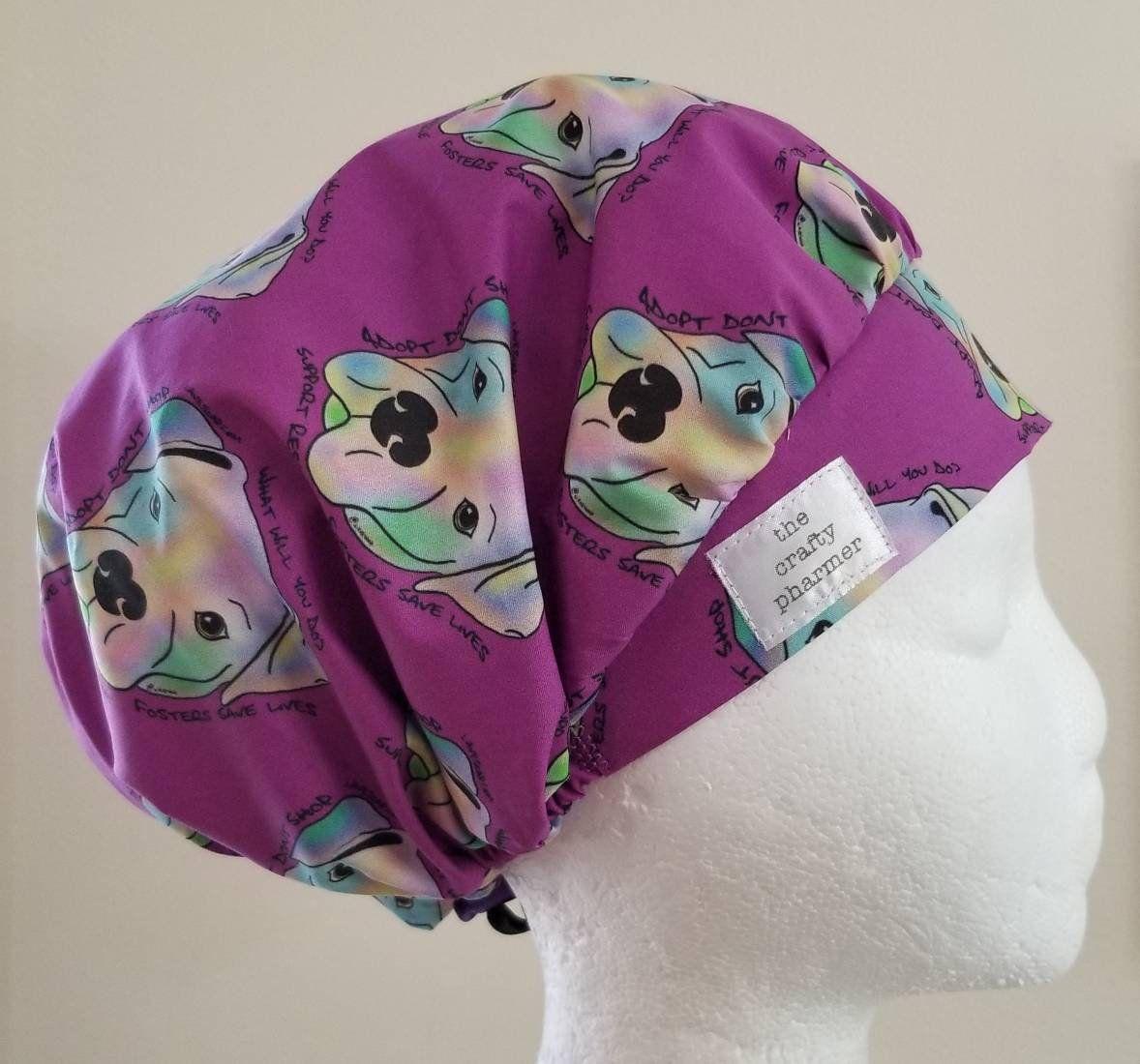 43928721bf250 Bullies on Purple Support Rescue - Handmade Scrub Hats