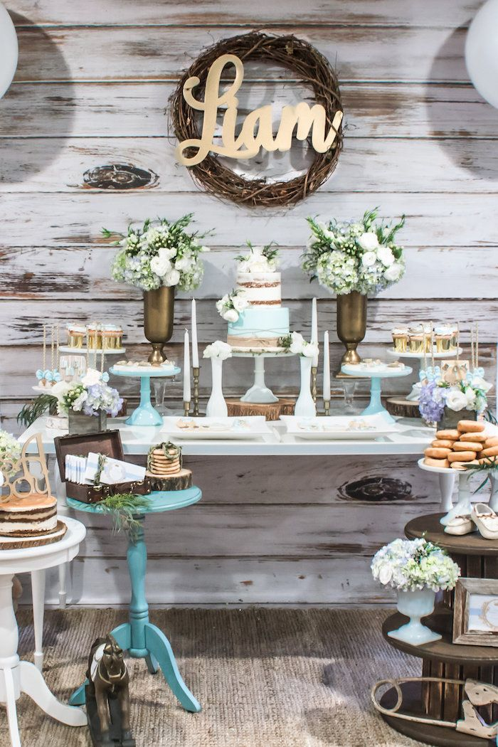 Blue Rustic Chic Baby Shower Kara S Party Ideas Chic Baby Shower Baby Shower Fall Rustic Baby Shower