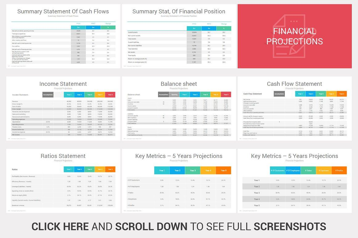 investors powerpoint pitch decks graphs fully editable charts