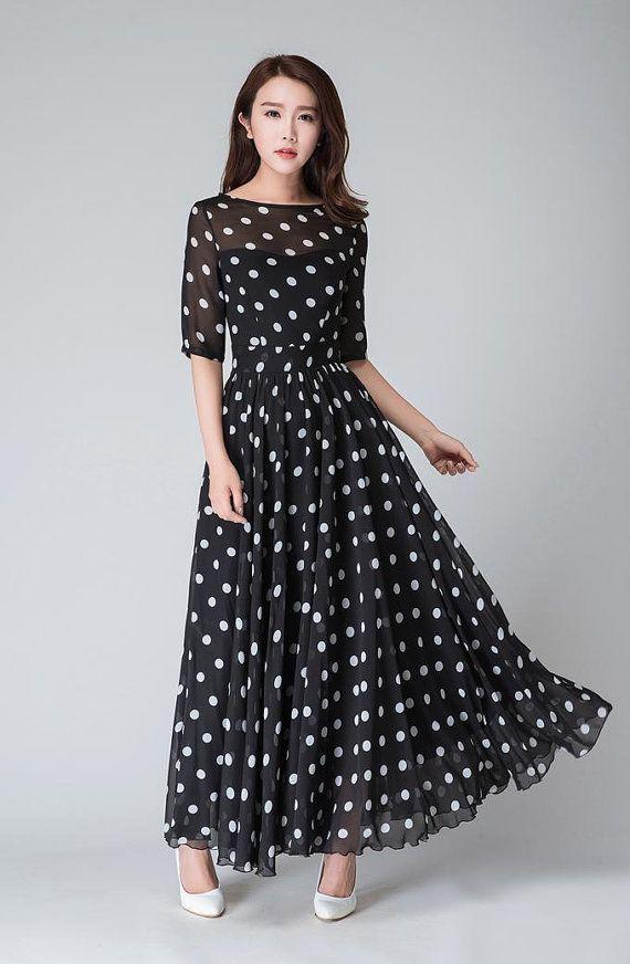 074c9b4d5e4 polka dot dress illusion prom dress Black white dress by xiaolizi ...