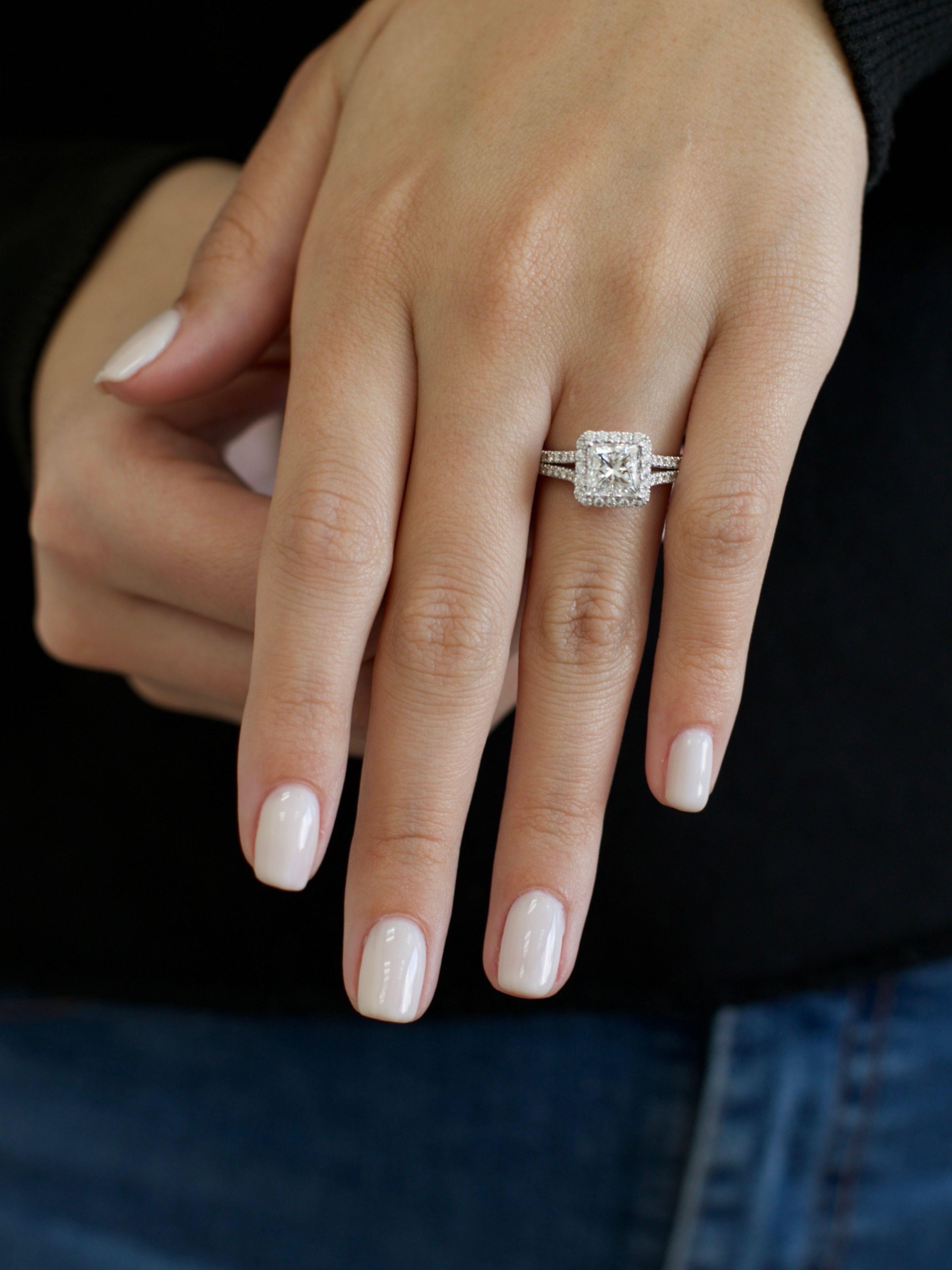 Princess Diamond Engagement Ring, 2.51 Carat Princess Cut Halo Split Shank Diamond Ring, Diamond Engagement Ring, 14k White Gold
