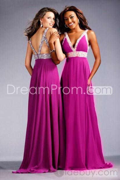 Exquisite Empire V-neckline Brush Train Floor-length Chiffon Prom Dress B15256