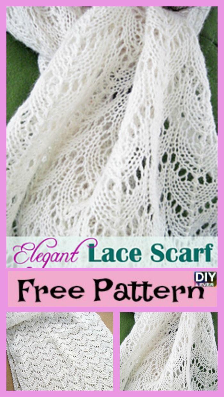 Elegant Knitted Lace Scarf - Free Pattern   Pinterest   Tejido ...