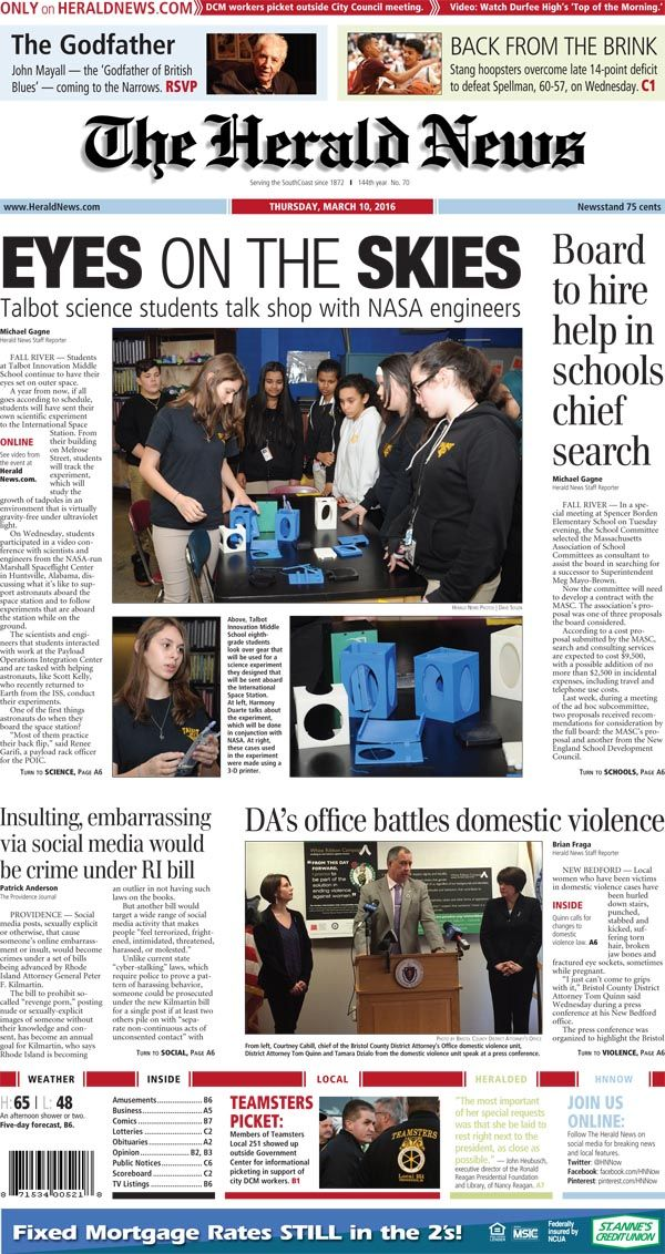 The Front Page Of The Herald News For Thursday March 10 2016 Herald Fall River Local News