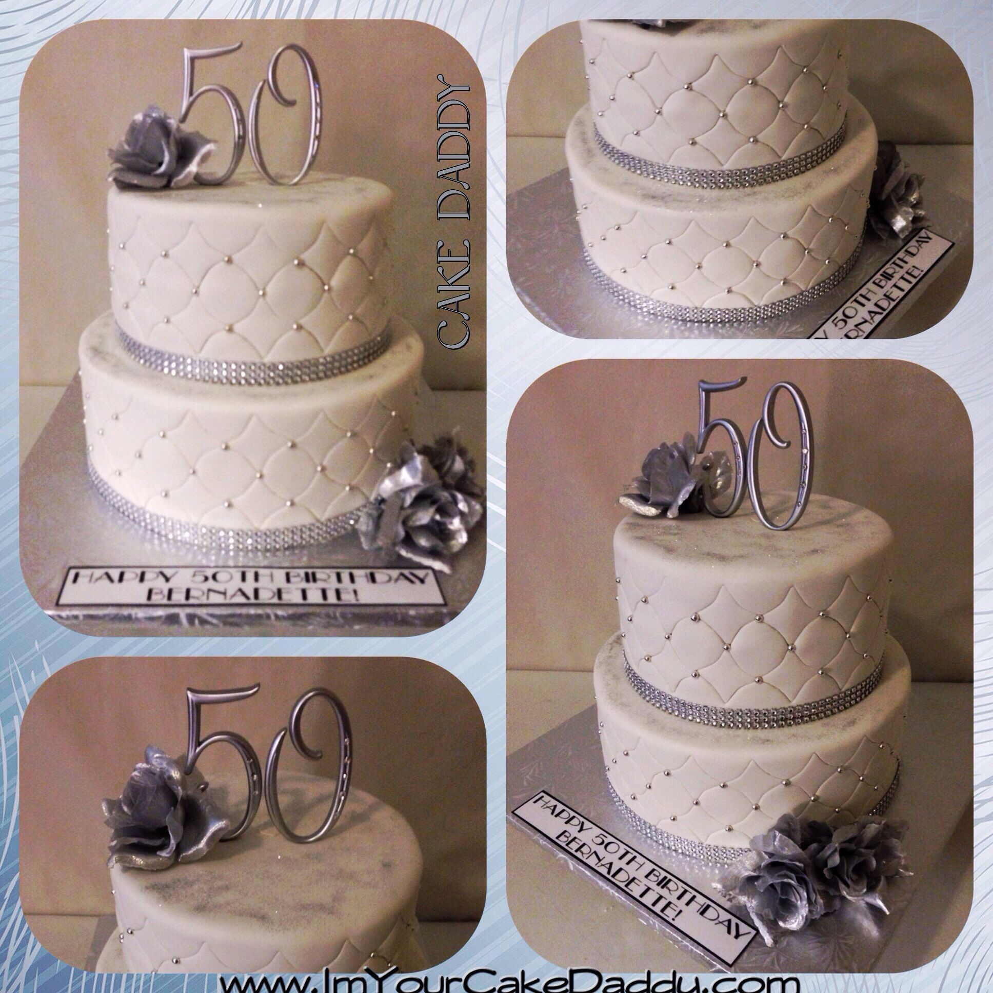 50th Silver And Bling Birthday Cake