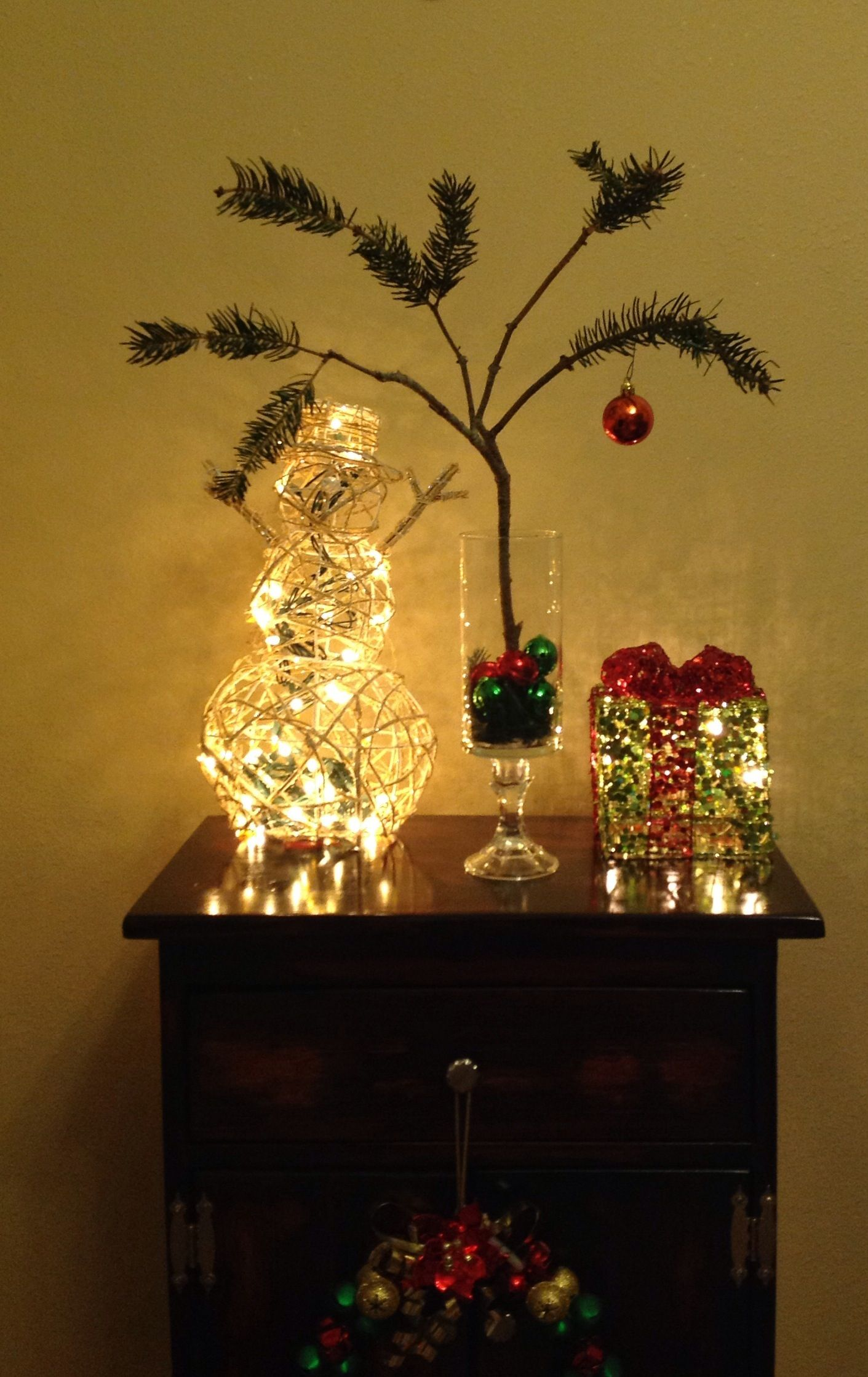 My rendition of charlie brown christmas tree tree scrap branch