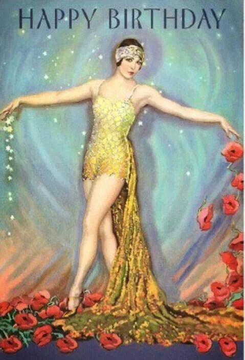 Birthday Art Deco Fashion Poppy Art Vintage Posters