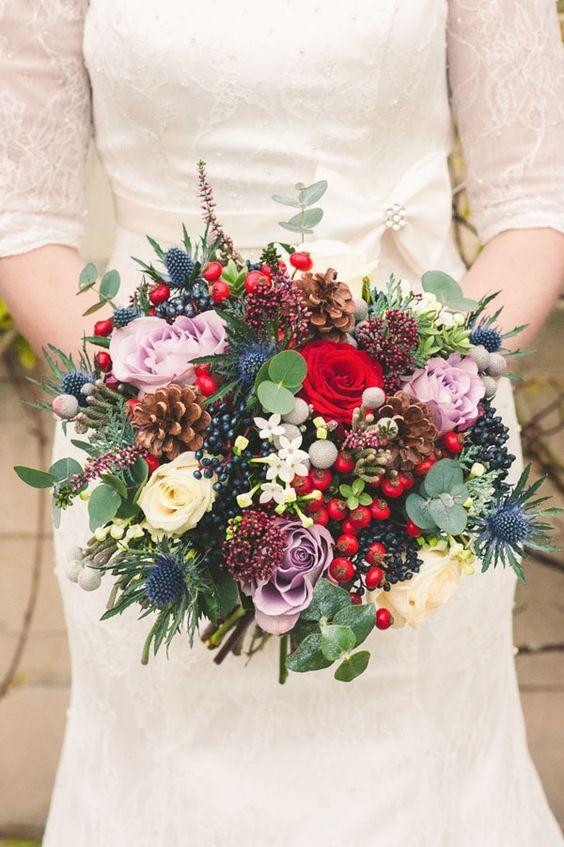 Christmas Wedding Bouquets Rustic Chic Winter Flower Arrangements