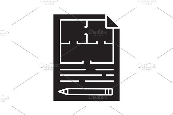Floor plan, flat blueprint with pencil glyph icon Icons Icons - best of blueprint detail crossword clue
