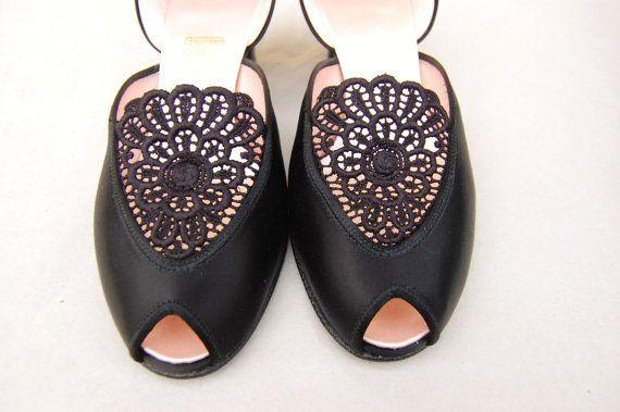 Vintage Daniel Green Slippers Black Satin Bedroom Size 7 5 8