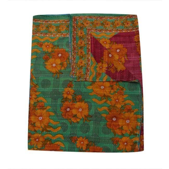 Handmade Kantha Throw Fair Trade Kantha Quilt Indian Kantha Gudri Avi23 Kantha Quilt Kantha Quilt Queen Indian Bedding