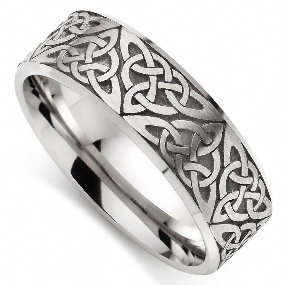 This is a photo of Wedding Rings, Celtic White Gold Wedding Ring 43ct White Gold