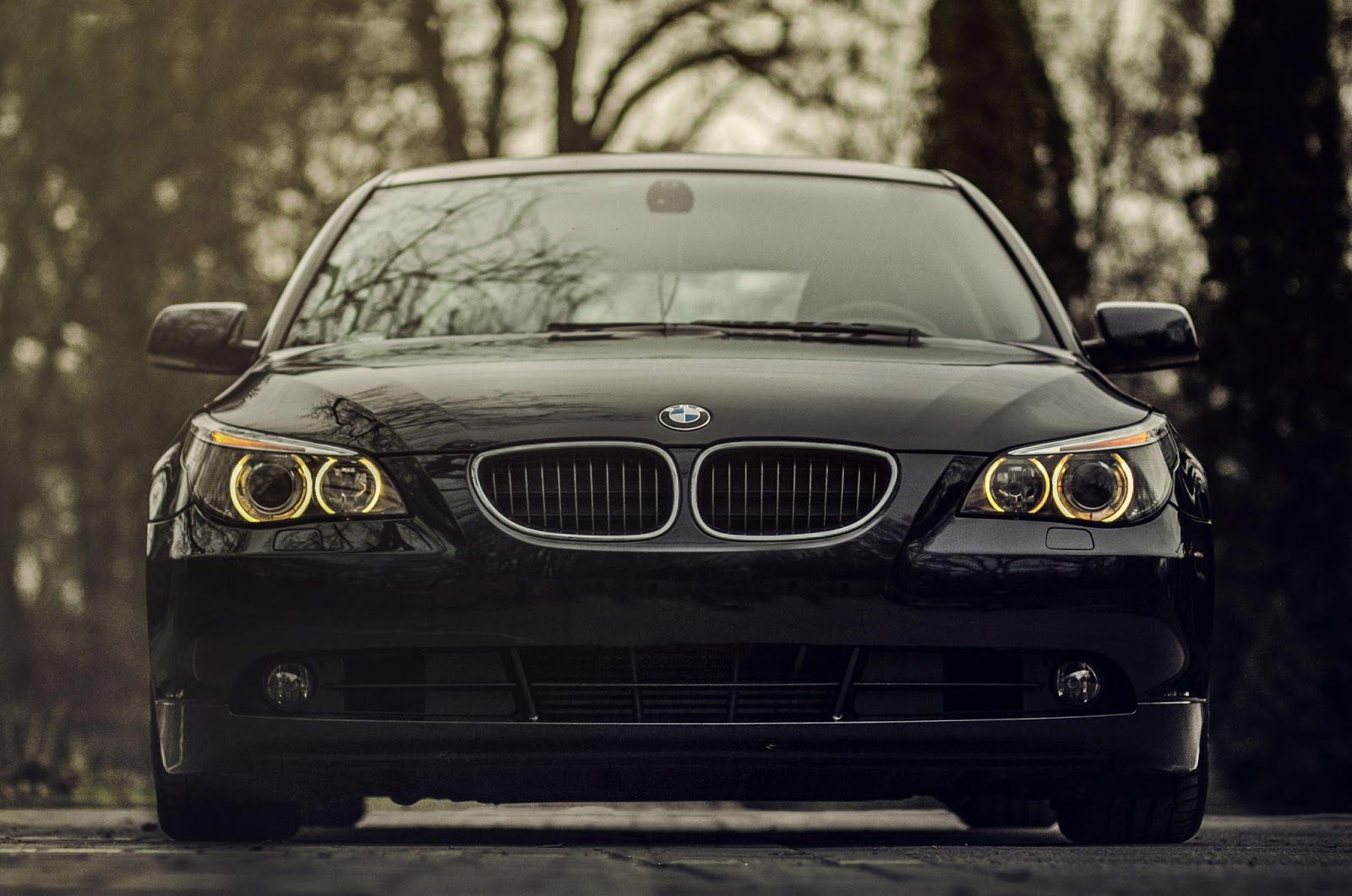 Bmw 520d Black Front View Front Bumper Full Hd 1080p Cars
