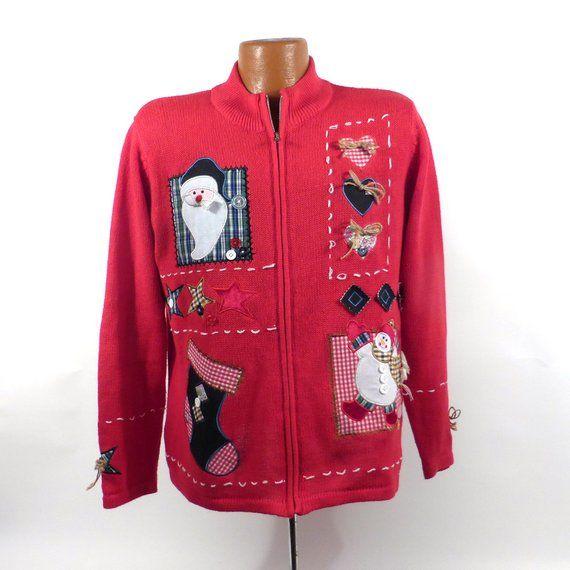 Ugly Christmas Sweater Vintage Cardigan Santa Holiday Tacky Party