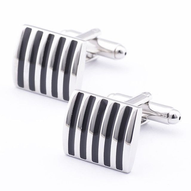 Silver rhodium square cuff links with black striped enamel design
