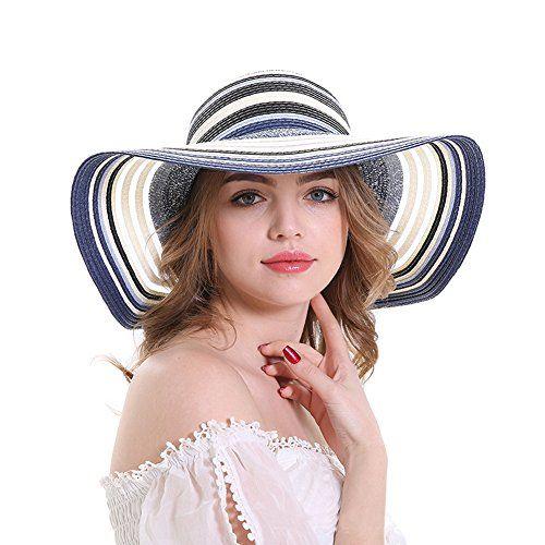 aead73278c1 Beachwear Sun Hat Foldable un Hats for Women with uv Protection UPF 50 Wide  Brim Big Brim Hat Straw Hat