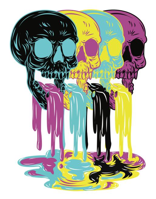 Dripping skulls done on Illustrator. *Just a trace, not original design*