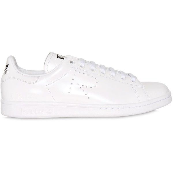 Adidas By Raf Simons Men Stan Smith Leather Sneakers (€330) ❤ liked on Polyvore featuring men's fashion, men's shoes, men's sneakers, white, mens leather shoes, mens shoes, mens perforated shoes, mens white shoes and mens white leather shoes