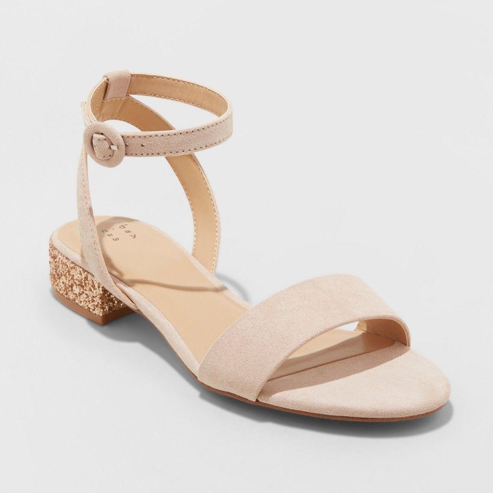 fcbda7078aa Women s Winona Glitter Wide Width Ankle Strap Sandals - A New Day Blush 8.5W