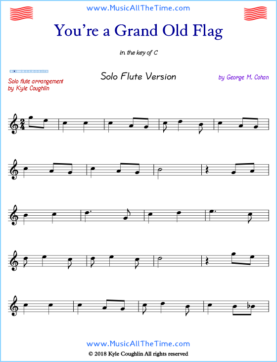 You Re A Grand Old Flag Solo Flute Sheet Music Free Printable Pdf Flutemusic Flutesheetmusic Freesheetmusic Flute Sheet Music Sheet Music Flute