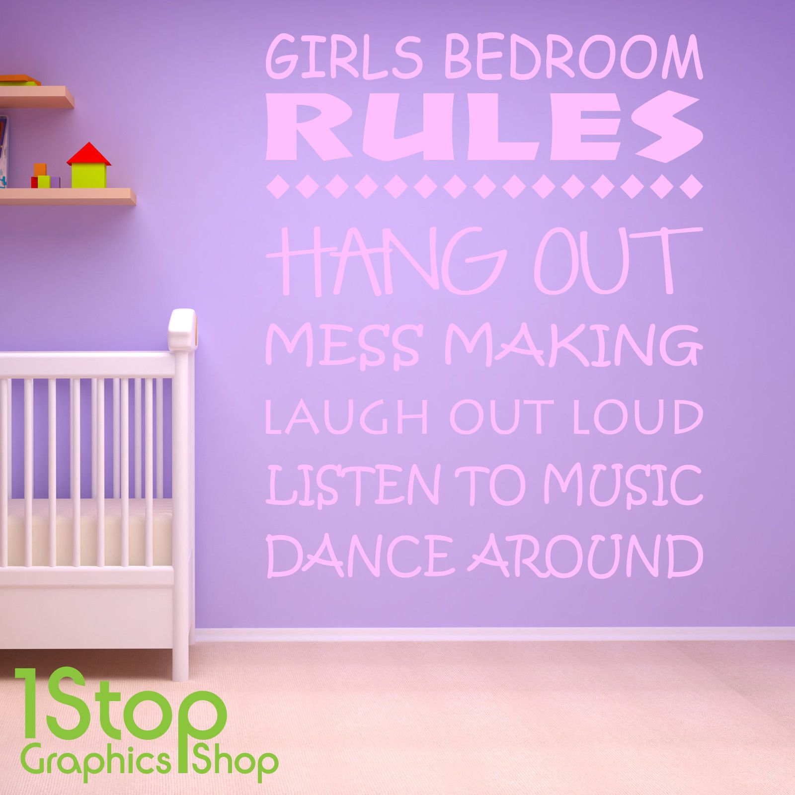 Girls bedroom rules wall sticker quote girls nursery wall art