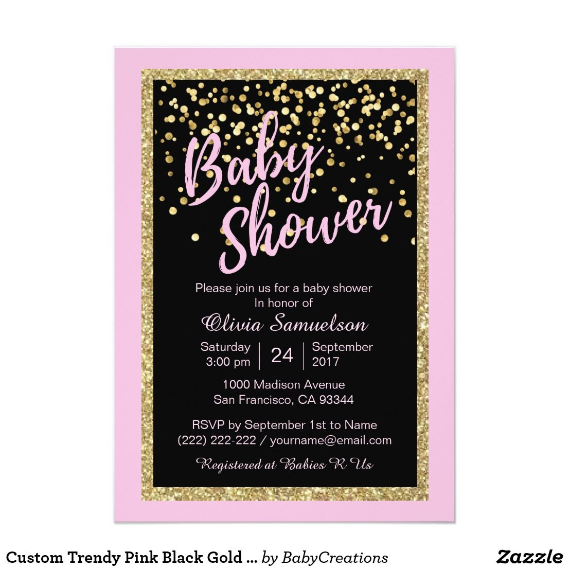 Custom Trendy Pink Black Gold Glitter Baby Shower Card | Unique baby ...