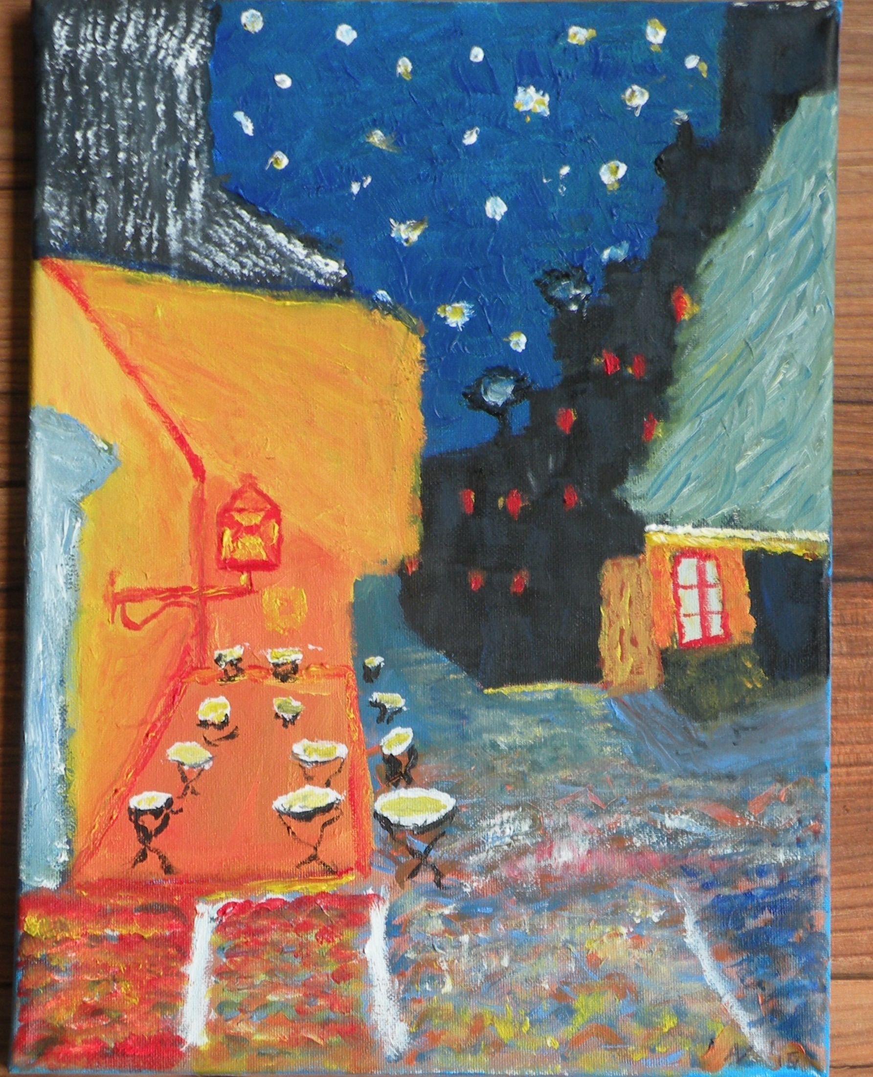 Project, Van Gogh op je eigen manier.... Aardig gelukt volgens mij... Werk ingestuurd voor de Van Gogh wedstrijd van Talens...