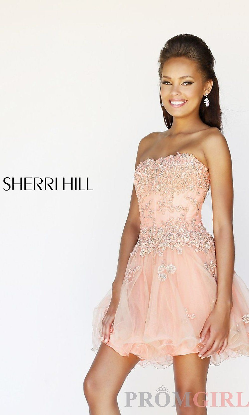 Strapless Lace Corset Style Party Dress by Sherri Hill 11062. Nude Prom ...
