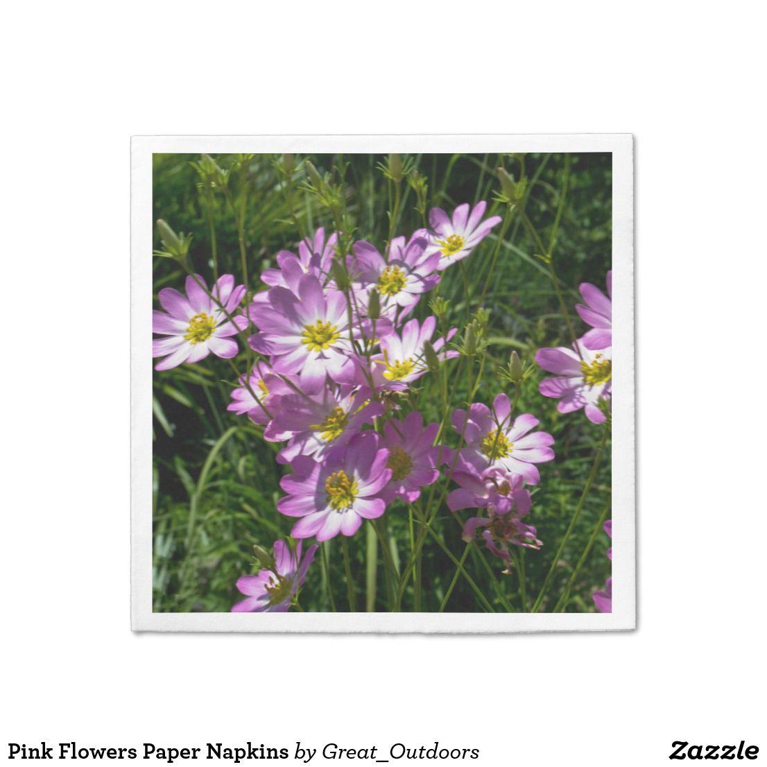 Pink Flowers Paper Napkins