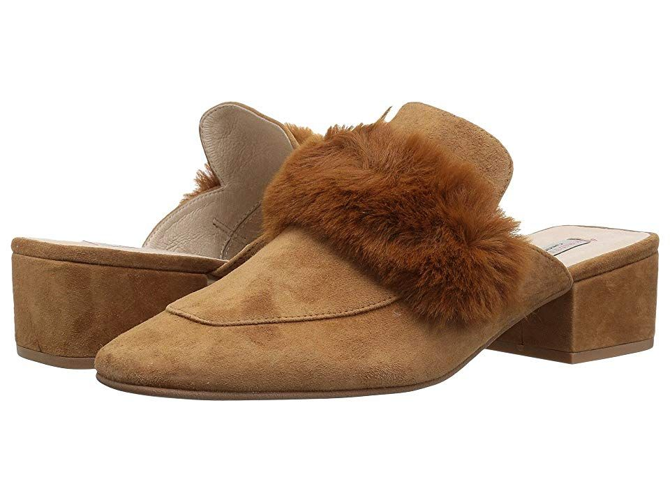 Kristin Cavallari Fearless Caramel Kid Suede Womens Slip on Shoes Keep your look bold and beautiful in the Kristin Cavallari Fearless mules Heeled loafer mules feature a...
