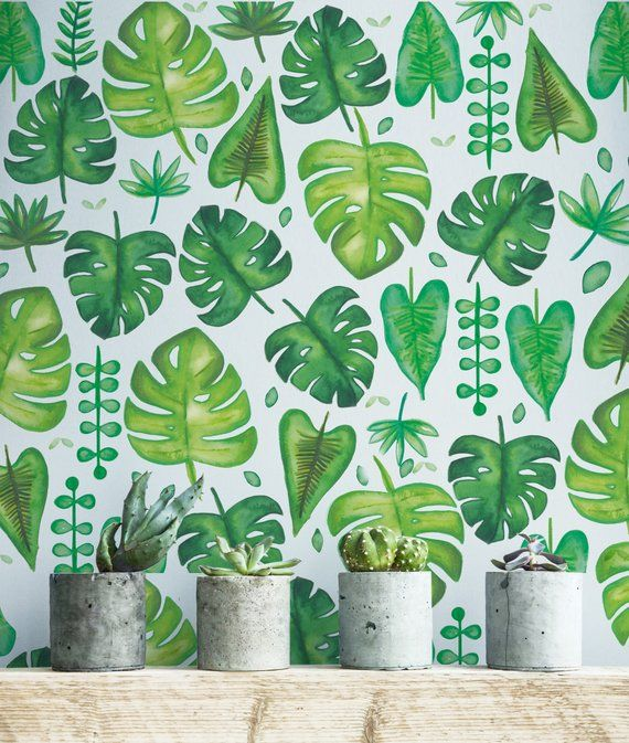 Tropical Wallpaper, Leaf Wallpaper, Tropical Pattern, Bedroom Decoration, Tropical Plants is part of bedroom Plants Tropical - LindaWallStickers section id 18569894&ref shopsection leftnav 1