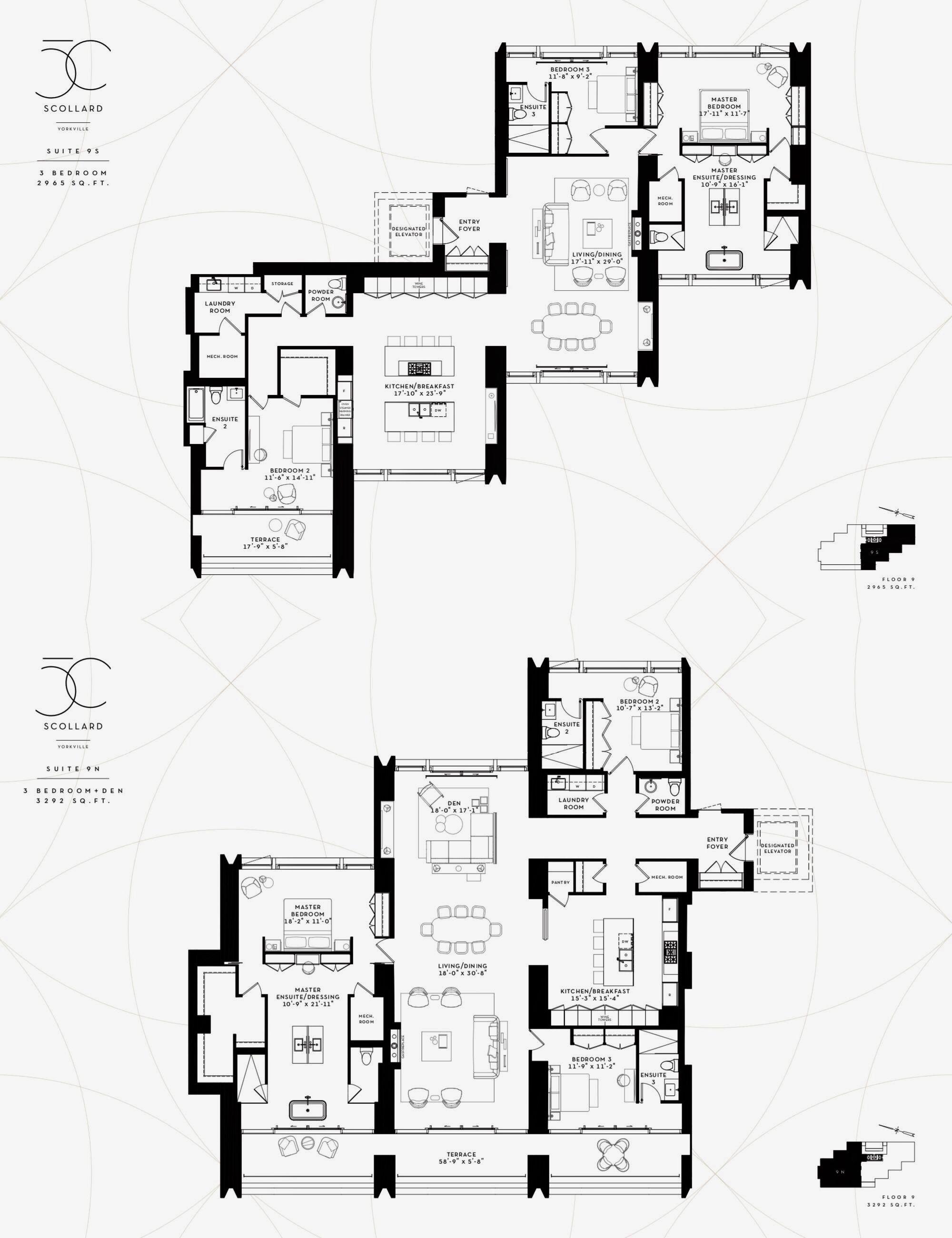 50 Scollard Yorkville Toronto Suite 9s 9n Floor Plan Drawing Plan Design Penthouse View